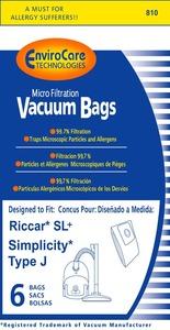 Riccar/Simplicity Replacment Rsr-1445 Paper Bag, Supralite Plus Sl+ Type J Micro 6Pk