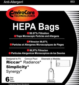 Riccar/Simplicity Replacment Rsr-1446 Paper Bag, Radiance Synergy Type X Hepa Env 6Pk
