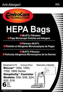 Riccar/Simplicity Replacment Rsr-1448 Paper Bag, 1400 1500 1700 1800 S38 S36 Hepa 6Pk