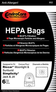 Riccar/Simplicity Replacment Rsr-1449 Paper Bag, Moonlight Sunburst Jack & Jill Hepa 6Pk