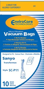 Sanyo Sar-1411 Paper Bag, Transformax   Type P11 Micro Env 10Pk