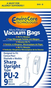 EnviroCare 844-9 Sharp Paper Bag, Type Pu2 Micro W/Closure Env 9Pk