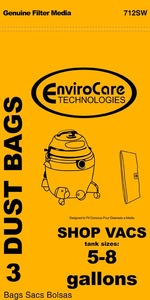 Shop Vac Replacment Svr-1405 Paper Bag, Shop Vac 5-8 Gallon Env 3Pk