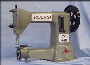"""Ferdco 440R Pro Leather 10.5"""" Cylinder Arm Industrial Sewing Machine 5/8"""" Presser Foot Lift with Reverse and Bottom Feed POWER STAND INCLUDED"""