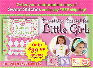 Designs, in Machine Embroidery, Sweet Stitches, JoAnn Connolly, Autograph Book, 64 Pages, Special, for Little Girls, 8 Projects: Banner, Pillow, Headband, PJ's