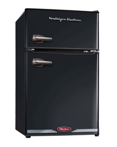 New Nostalgia Electrics RRF325HNBLK Retro Series 3.1-Cubic Foot Compact Refrigerator Freezer, Black