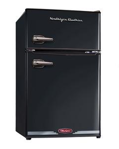 New Nostalgia Electrics RRF325HNBLK Retro Series 3.1-Cubic Foot Compact Refrigerator Freezer, Black