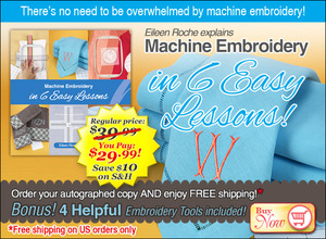 dime, Designs, in Machine Embroidery, in 6 Easy Lessons, 64Pg Book, Autographed Copy, by Eileen Roche, Dont be Overwhelmed, Placement, Hooping, Stitching, Finishing