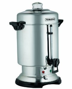 Hamilton Beach D50065 60 Cup Commercial Coffee Maker Brew Urn, Stainless Steel, Keep Warm Heater, Ready Light, 1 Hand Trip Handle, Liquid Level Window