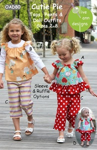 Olive Ann Designs OAD80 Cutie Pie Tops,Pants And Doll Outfits Pattern Sizes 2 to 8