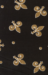 Fabric Finders FF1300 Bronze Fleur de Lis on Black Print 15 Yd Bolt 9.34 A Yd 100% Cotton 60""