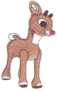 """White """"Rudolph"""" Embroidery Card For Brother, Baby Lock, Bernina Deco 500, 600, 650, Simplicity, & White PES"""