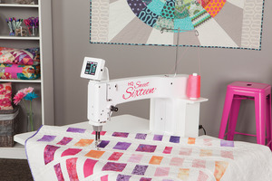 "Handi Quilter HQ16 Sweet Sixteen 16x8"" Longarm Quilting Machine 1500SPM, TruStitch Length Regulator, SitDown StandUp Table USA, 28 ED Lights, M Bobbins*Optional Extention Leaf"