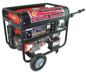 Powerland PD6500E Gas Generator, 6500W, 120/240V, 60Hz, 13hp, Electric Start, Idle Control, Up To 12hrs Runtime