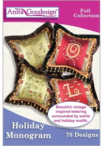 Anita Goodesign 198AGHD Holiday Monogram Multi-format Embroidery Design Pack on CD