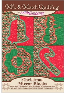 Anita Goodesign 200AGHD Christmas Mirror Blocks  Multi-format Embroidery Design Pack on CD