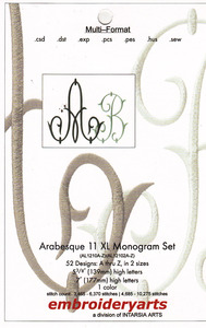 Embroideryarts Arabesque Monogram Set 11 XL Embroidery Multi-Formatted CD