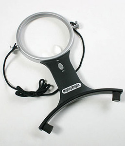 "Mighty Bright MB66510 Hands Free LED Lighted 4"" Magnifier, 1.5x Magnifying Lens, 4x Bifocal, 2AA Batteries, Neck Strap, Chest Stabilizing Brace"