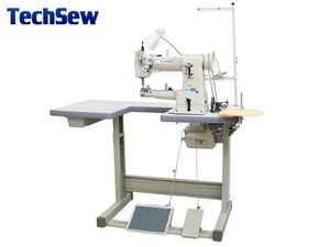 "Techsew 2800B 10.5"" Cylinder Arm Walking Foot Needle Feed Sewing Machine, U Table Stand, for Leather Fur, 5/8"" Binder, 16mm Foot Lift, up to 5mm, 5SPI"