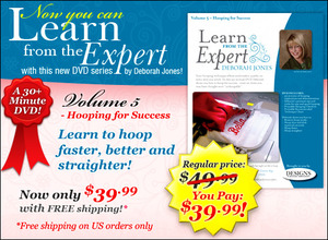 Deborah Jones Embroidery, Learn from the Expert Volume 5 - Hooping for Success DVD