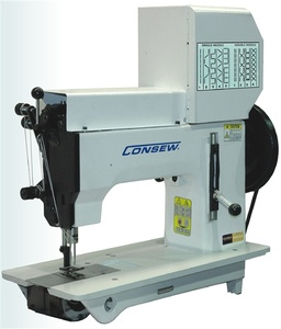 Consew 2040-DSM, Extra Heavy Duty, Single Needle/Double Needle, Drop Feed Lockstitch Machine Complete with Knocked Down Table Stand 3/4HP Motornohtin