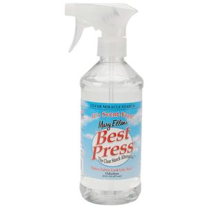 Mary Ellen 6959A, 16oz Best Press Clear Spray Starch Miracle Alternative, Scent Free, Non Aerosol Spray Bottle, No Flake, Clog or White Residues