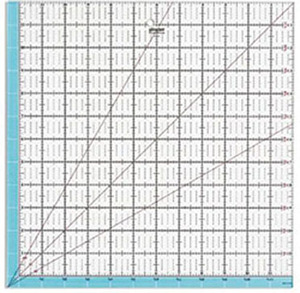 "Gingher GG-1986, 12.5""x12.5"" Ruler with Highlighted Seam Allowance, 30, 45, and 60 Degree Bias Lines, 1"" Gridded, 1/4"" Grid Lines, Hanging Hole"