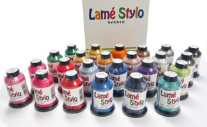 Ozeki JAPAN Lame, Lamé, Stylo, Lame style,  24 Spools Glittery Embroidery Quilting Sewing Serger Embellish Thread Kit 79%Poly 21%Nylon 50wt 1100Yds/Cone, Colors LM01-LM24, JAPAN