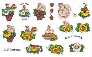 Amazing Designs BMC SP2 Chicken and Rooster Embroidery Brother Card
