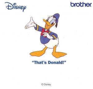 Brother SA302D That's Donald Disney Embroidery Card  only for Brother machines whose model number ends in D