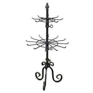 PGM Pro 913A Metal Spinner Jewerly Display Rack, Raw Steel Finish with Durable Clear Coat, 2 Tier, Revolving, Heavy Base, Height Adjustable