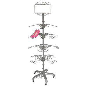 PGM Pro 909E-A Antique Metal Shoe Tree Rolling Rack, Raw Steel Colored, 1 Sign Holder, 16 Hat Holders, Height Adjustable by Foot Pedal