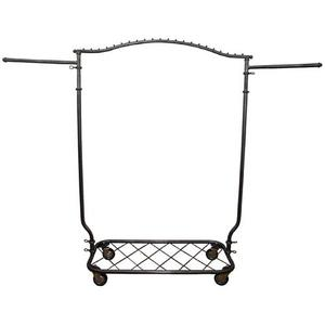 PGM Pro 912Y Arched Hangrail Rack, Bottom Shelf, Raw Steel Finish with Durable Clear Coat, Heavy Duty Caster Base, Adjustable Height 63-70""