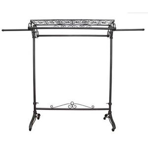 "PGM Pro 912X Double Straight Hangrail Rack, Top Shelf, Raw Steel Finish with Durable Clear Coat, Rolling Casters, Adjustable Height 63""-70"""