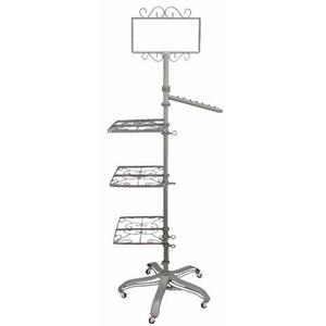 PGM Pro 912AS-A 3-Way Garment Rolling Rack, 3 Shelves, 1 Sign Holder, 1 Slant Arm, Heavy Duty Base 5 Rolling Casters, Height Adjustable by Foot Pedalnohtin