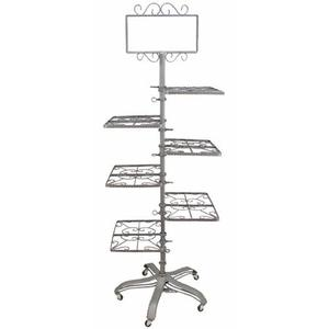 PGM Pro 912A-A Garment Rack, 1 Sign Holder, 6 Shelves 3 Each Side, Heavy Base with 5 Rolling Casters, Foot Pedal Height Adjustable