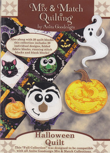 Anita Goodesign 196AGHD Halloween Quilt Large Designs Multi-format Embroidery Design Pack on CD