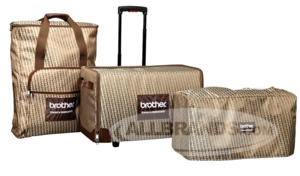 Brother SASEB V Series Rolling Luggage 3Pc Bag Set Replaces SAQB  , DreamWeaver XE VM6200D Bag, Dreamweaver VQ3000, Bag, Luggage, Roller Bag, Brother SASEB Rolling Luggage 3 Piece Bag Set Included with V Series DreamWeaver Machines, Soft Machine Cover, and Embroidery Arm/Extension Table Bag