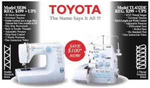 Toyota SE06 Sewing Machine & TL432DE Serger Combo Package with Both Videos Included