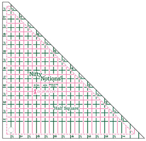 Nifty Notions NNHS Half Square Ruler Cut for the Cure