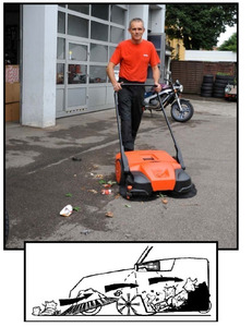 """Oreck PPS31D 31"""" Deluxe 13 Gal Triple Brush Push Power Outdoor Sweeper (Discontinued Replaced by Bissell BG477)"""
