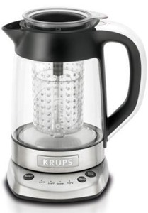 Krups, FL700D51, Tea Maker and Kettle, Heat and Steep, Electric, Glass Carafe, Tea Maker, Kettle and Pot, Stainless Steel Black, 1.25 quart, Temperatures, White Tea, Green Tea, Yellow Tea, Oolong Tea, Black Tea, Read Tea, Tisane, Herbal Tea, 176°F, 194°F, 203°F, 212°F