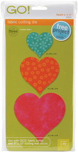 "HEART, Go!, Fabric, Die, AccuQuilt, 55029, Hearts, 2"", 3"", and 4"", Cutting, Board, accu, quilt"
