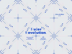 MRR2, Ruler Revolution, MRR2 24 in 24 Mini Ruler, Ruler Revolution MRR2 Mini Version of 24x14 Ruler, Half Square, Triangles