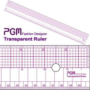 "PGM 808A Pattern Grading Half Grid Transparent Ruler 24""Long x2"" Wide"