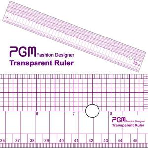 "PGM Pro 808B 18"" Pattern Grading Half Grid Transparent Ruler, 18"" L x 2"" W, Shows Inches and Metric Measurements, Thick but also Flexible"