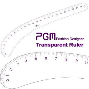 "PGM Pro 808C 24"" Transparent Hip Curve Ruler, Inch Measurements, Thick but Flexible Material"