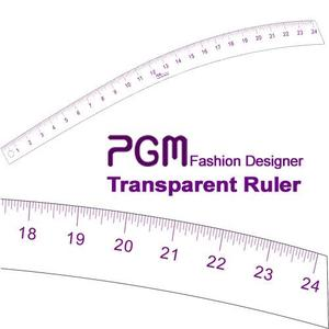 "PGM Pro 808D 24"" Transparent Curve Stick Ruler, Inch Measurements, Thick but Flexible Material"