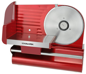 "Kalorik, Red Meat Slicer, AS 29091 R, 200W, Gear Motor, 7.5"" Serrated, Stainless Steel, Blade, Deli Thin, 1/32"" to Thick, 1/2"" Meat, Cheese, Bread, Veg, Fruit"