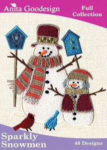 Anita Goodesign 3AGHD Sparkly Snowmen 40 Design Full Collection for Christmas